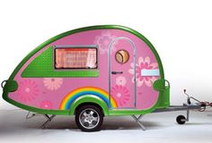 I think I would prefer it to be a little bit less pink though. Little Trailer, Little Campers, Cool Campers, Happy Campers, Mini Caravan, Retro Caravan, Vintage Caravans, Vintage Travel Trailers, Vintage Campers