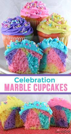 Celebration Marble Cupcakes - a beautiful and colorful cupcake that would be a cupcake recipe for a Unicorn Birthday Party, a Brunch, a Baby Shower or just a random Wednesday. Cupcakes never looked so good or were so easy to make. What a fun and delicious Marble Cupcakes, Fun Cupcakes, Cupcake Party, Cupcakes For Girls, Cupcake Decorating Party, Rainbow Cupcakes, Rainbow Swirl, Cupcake Cakes, Unicorn Themed Birthday Party