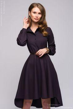 Купить платье-рубашка темно-синее с мелким принтом и длинными рукавами в интернет-магазине 1001DRESS