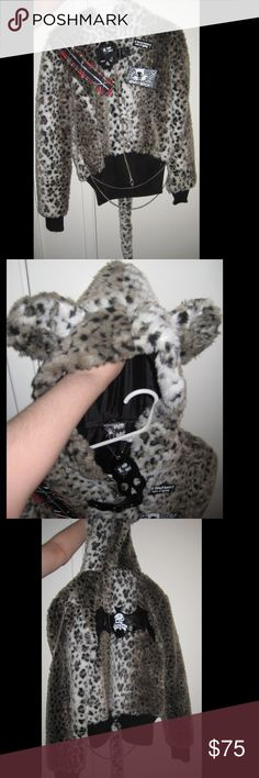 Furry White Leopard Kitty Tail Coat by Punk Rave Adorable, hard to find jacket. Brand new with tag. Best fits size US women's XS, S, or M because Asian sizing tends to run a little smaller than US sizes. I'm a medium and it fits me. So much cool detail from the hood ears and tail to the chains, pins, and plaid tartan detail. There's even little bat wings on the back! Punk Rave Jackets & Coats Utility Jackets