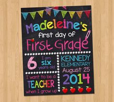 First Day of School Sign by KidsPartyPrintables on Etsy https://www.etsy.com/listing/199922189/first-day-of-school-sign