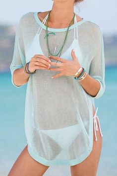 """Cool Breeze Mint Blue Swimsuit Cover Up Light and lovely swimsuit cover up. 3/4"""" Sleeve Length Hand wash cool or delicate machine wash. Hang dry. +++++ Ships in"""