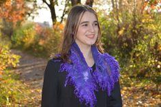 Felted purple scarf wool wrap collar art to wear nuno felt