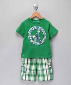 Take a look at this Green Peace Tee & Shorts - Toddler & Boys by Blow-Out on #zulily for Fall today!