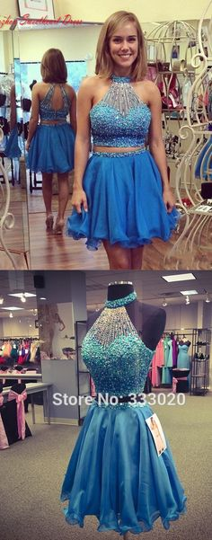 Exquisite Two Piece Key Hole Back Sleeveless Short Sky Blue Homecoming Dress…