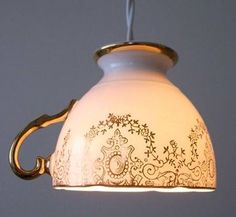 Upcycled tea cup lamp made from fine china.