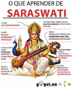 Saraswati é a deusa hindu da sabedoria, das artes e da música e a shákti, que significa ao mesmo tempo poder e esposa, de Brahmā, o criador do mundo. Durga, Saraswati Goddess, Shiva Shakti, Saraswati Idol, Saraswati Statue, Nataraja, Hindu Deities, Krishna Art, Ganesha Art