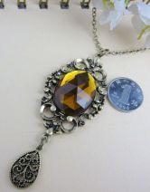 Vintage Yellow Stone Pendant Necklace $12