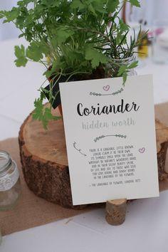 Herb Table Names Log Centrepieces Travel Garden Party Farm Marquee Wedding http://sharoncooper.co.uk/