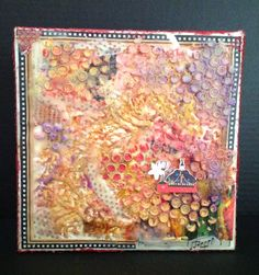 9x9 canvas, wax and paper.   By Cheryl Jacobson