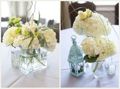 Rent cube vase and fill with hydrangea for wedding centerpiece