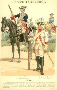Knötel-Tafel 08/1 Hessen-Darmstadt. Garde-Kavallerie. Um 1750.