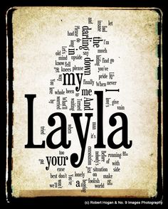 Layla Lyrics - Eric Clapton Word Art - Word Cloud Art 8x10 Print - Gift Idea. $15.00, via Etsy.