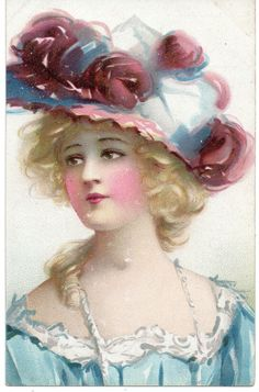 Hildesheimer: u/b: lovely fair haired girl: blue dress, edwardian hat fashion
