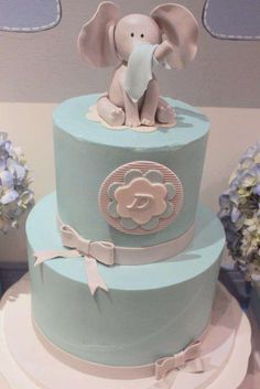 Fun cake at an elephant baby shower party! See more party ideas at CatchMyParty.com!
