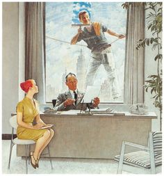 Norman Rockwell .... I love having windows in the office