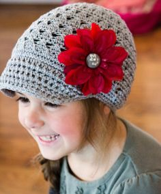 Gray Newsboy Hat with Red detachable Flower Clip - Size 1 - 3 years Crochet Newsboy Hat, Knit Crochet, Crochet Hats, Warm Fuzzies, News Boy Hat, Fabric Covered Button, Needful Things, Red Silk, Grey Fabric