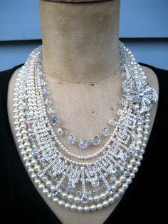 Czarina  A Pearl Rhinestone and Vintage Crystal by rebecca3030