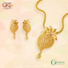 Gold Light Weight Short Necklace from GRT Jewellers
