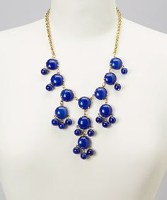 Take a look at this Blue Round Bead Bubble Necklace by ZAD on #zulily today!