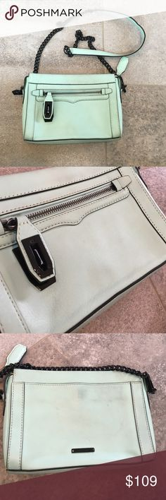 "Rebecca Minkoff Mint Cross Body 9""W x 1.5""D x 6.5""H 21"" Adjustable chain strap Exterior front zipper pocket Genuine leather Gunmetal hardware Some Marks As Pictured Rebecca Minkoff Bags Crossbody Bags"