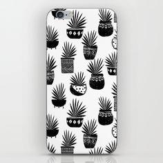 houseplant linocut aloe vera art botanical black and white lino printmaking art minimal modern iPhone & iPod Skin