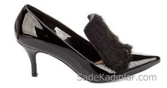 Hotiç Ayakkabı Modelleri Siyah Topuklu Rugan Önden Tay Tüy