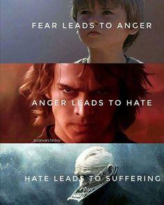 """""""Fear is the path to the dark side…fear leads to anger…anger leads to hate…hate leads to suffering."""" Yoda, Star Wars The Phantom Menace Star Wars Trivia, Star Wars Jokes, Star Wars Facts, Star Wars Sith, Star Wars Rebels, Clone Wars, Star Trek, Star Wars Fan Art, Citations Star Wars"""