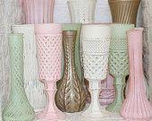 Blush Pink Mint Green Ivory Gold Shabby Chic Vase Set