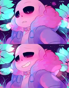 HAPPY BLUSHY SMILING SANS!! *slams table* AHHH!!! Let him be happy please! *gross sobbing* I really wanted to see Sans smiling in Frisk's perspective. You know, because he's always...