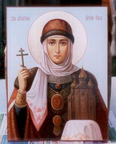 Saint Olga Princess of Russia, Russian Orthodox hand painted icon, named icon Paint Icon, Russian Icons, Russian Orthodox, Archangel Michael, Orthodox Icons, Madonna, Catholic, Saints, Hand Painted