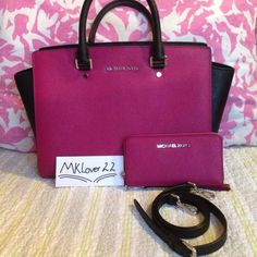 """Michael Kors large Selma satchel MATCHING WALLET Saffiano Leather Double Top handles with 5"""" drop. Adjustable shoulder strap with 22"""" drop. Top zip closure MK gold tone  hardware and signature plaque at front. Interior features zip pocket, 4 slip pockets and key fob. 14""""W x 9""""H x 5""""D PINK COLOR. MATCHING WALLET IS INCLUDED!! Michael Kors Bags Satchels"""