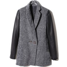 Dark Grey Contrast Leather Long Sleeve Buttons Coat ($134) ❤ liked on Polyvore