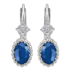 14k white gold sapphire and diamond oval drop earrings