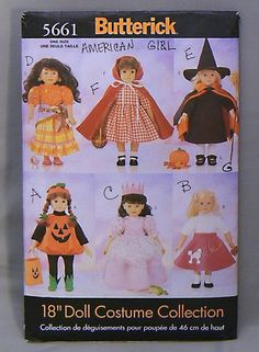 "Butterick 5661 18"" Doll Clothes Pattern 6 Halloween Costumes Used/As-Is"