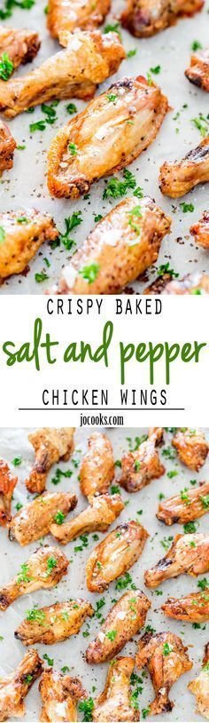 Crispy Baked Salt and Pepper Chicken Wings - these will probably be the simplest and most amazing wings you'll ever make. Generously seasoned with salt and pepper and baked to a crisp perfection!