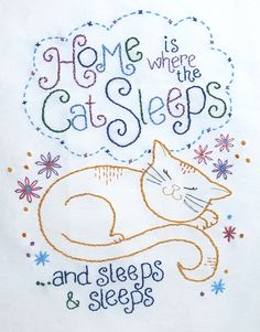 cute nap kitty #embroidery #pattern