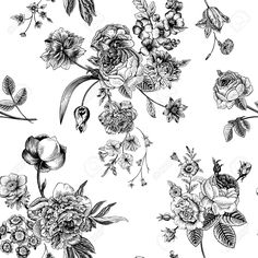 Seamless Vector Vintage Pattern With Victorian Bouquet Of Black.. Royalty Free Cliparts, Vectors, And Stock Illustration. Image 32429003.