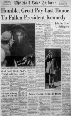 Newspaper Front Pages, Vintage Newspaper, Newspaper Article, Jfk, Famous People In History, Break Wall, Front Page News, Kennedy Assassination, Usa Holidays