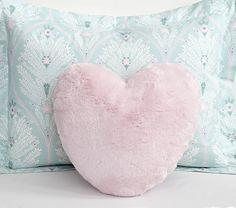 Fur Heart Decorative Pillow | Pottery Barn Kids
