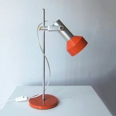 Large Space Age East Germany (DDR) desk lamp Re-wired / Mid Century Modern orange office lamp / Great condition / Satellite, UFO, Atomic era
