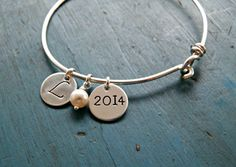 Personalized Initial Bangle Graduation Gift Personalized Bracelet College Graduate High School Graduation Gift