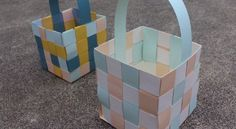 How to make woven paper Easter baskets