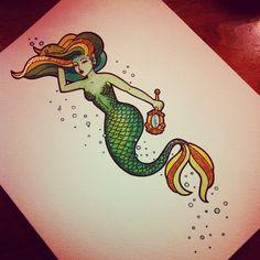 Neo Traditional Mermaid Tattoo