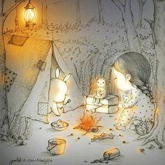 가출한 녀석들..? 이번 그림은 gif에요. #체끼라웃 #그라폴리오 #가을 #캠핑 #notte #bosco #forest #night #꼬닐리오…