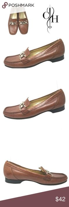 42ff0eb5179 Cole Haan Anjali Loafers Chain Detail Women s Sz 7 Cole Haan Anjali Brown  Leather Loafers Chain