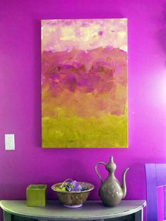 Large Modern Hand Painted Original Abstract Art Canvas, Mustard Fuschia Ombre, Ikat, Chevron, Mid Century Modern Home. $290.00, via Etsy.