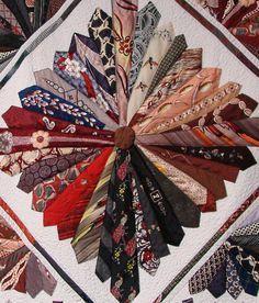 detail, Necktie quilt by Shirley Parsons, 2013 Nebraska State Fair. Photo by Sandy Slaymaker, Necktie Quilt, Shirt Quilt, Quilting Projects, Quilting Designs, Sewing Projects, Colchas Quilt, Quilt Blocks, Memory Crafts, Art And Craft Videos