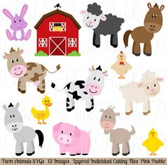 Farm Animals SVGs Barnyard Animals and Barn Cutting von PinkPueblo