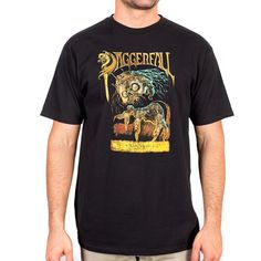 Men's 100% premium cotton black t-shirt with 10-color screenprint on the front.